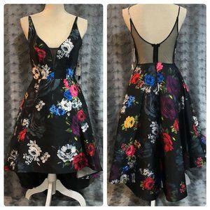 Sequin Hearts Dress Sz 3 Fit & Flare Black Floral